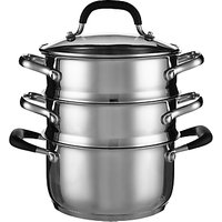 John Lewis & Partners 'The Pan' Stainless Steel 3-Tier Lidded Steamer, 18cm
