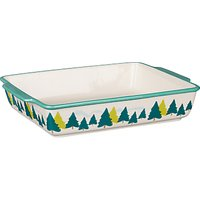 John Lewis & Partners Trees Rectangular Pie Dish, L35cm, White/Green