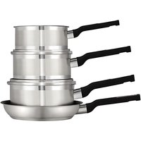 John Lewis & Partners Two Tone Stainless Steel Pan Set, 4 Piece