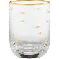 John Lewis & Partners Sapphire Fish Cut Glass Tumbler, 310ml, Gold