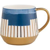 John Lewis & Partners Geometric Print Mug, 450ml, Carbon Blue