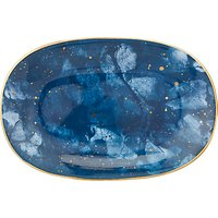 John Lewis & Partners Amaris Small Oval Platter, L27.5cm, Blue/Gold