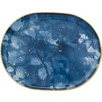 John Lewis & Partners Amaris Medium Oval Platter, L32cm, Blue/Gold