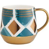 John Lewis & Partners Geometric Print Mug, 450ml, Peacock