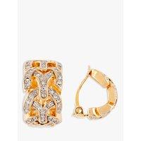 Susan Caplan Vintage D'Orlan 22ct Gold Plated Swarovski Crystal Demi Hoop Clip-On Earrings, Gold