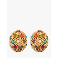 Susan Caplan Vintage 22ct Gold Plated Multi Stone Oval Stud Earrings, Gold/Multi