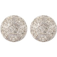 Susan Caplan Vintage Nina Ricci Silver Plated Swarovski Crystal Round Clip-On Earrings, Silver