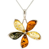 Be-Jewelled Sterling Silver Marquise Amber Flower Pendant Necklace, Multi