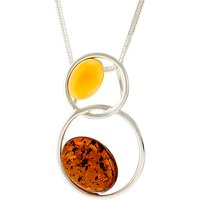 Be-Jewelled Sterling Silver Double Circle Amber Pendant Necklace, Cognac/Lemon
