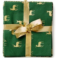 John Louden Christmas Print Fat Quarter Fabrics, Pack of 5, Green/Gold