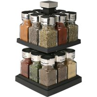 Olde Thompson 16 Jar Flip-Lid Stainless Steel Spice Rack Carousel