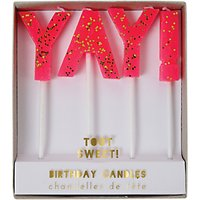 Meri Meri Toot Sweet Yay Cake Candles, Set of 3, Pink