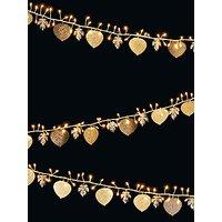 John Lewis & Partners 240 LED Leaf Line Lights, Gold, 11m
