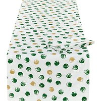 John Lewis & Partners Brussel Sprout Table Runner and 4 Napkins Set, Green/White