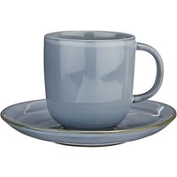 John Lewis & Partners Glaze Double Cup and Saucer, 250ml, Blue