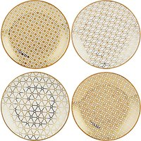 John Lewis & Partners Gold Decorated Small Plates, Set of 4, Assorted
