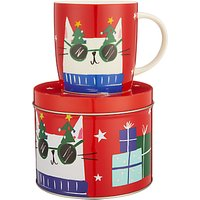 John Lewis & Partners Cat China Mug In A Money Box Tin, Red, 350ml