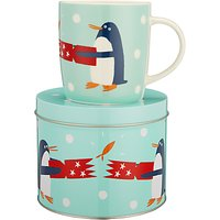 John Lewis & Partners Penguin China Mug In A Money Box Tin, Turquoise, 350ml