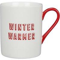 John Lewis & Partners Winter Warmer Mug, White/Red, 225ml