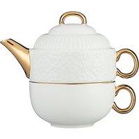 John Lewis & Partners Ruby Snowflake Tea-For-One Teapot, White, 460ml
