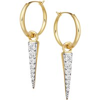 Missoma Cubic Zirconia Pave Dagger Drop Hoop Earrings, Gold