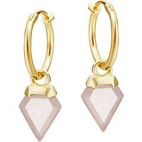 Missoma Rose Quartz Mini Hoop Earrings, Gold