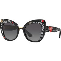 Dolce & Gabbana DG4319 Women's Cat's Eye Sunglasses, Black/Grey