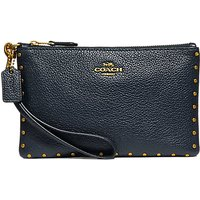 Coach Leather Rivets Wristlet Purse, Midnight Navy