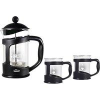 Bialetti 800ml Coffee Press and 200ml Mugs Set, Clear/Black