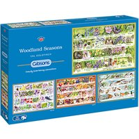 Gibsons Woodland Seasons Jigsaw Puzzle, Set of 4, 500 pieces