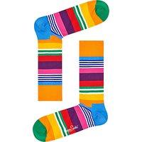 Happy Socks Multi Stripe Socks, One Size, Orange/Multi