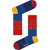 Happy Socks Stripe Spot Socks, One Size, Red/Multi