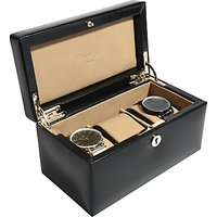 shop for Dulwich Designs Windsor Leather 3 Piece Watch Box, Black at Shopo
