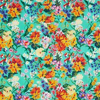 John Lewis Large Floral Print Fabric, Green