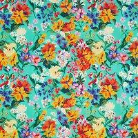 John Lewis Large Floral Print Fabric, Green