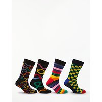 Happy Socks Geometric Socks, One Size, Pack of 4, Multi