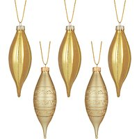 John Lewis Gold Finial Bauble, Box of 5, Gold