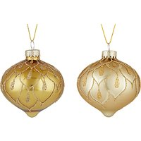 John Lewis Gold Onion Bauble, Box of 3, Gold