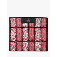 John Lewis & Partners Ruby Festive Berries Luxury Christmas Crackers, Pack of 12