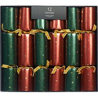 John Lewis & Partners Gold Chip Luxury Christmas Crackers, Pack of 12, Red/Green