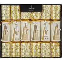 John Lewis & Partners We Three Kings Luxury Christmas Crackers, Pack of 6, Gold