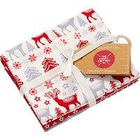 Craft Cotton Co. Scandinavian Christmas Print Fat Quarter Fabrics, Pack of 4, Red/White