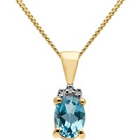 A B Davis 9ct Gold Semi Precious Stone And Diamond Oval Pendant Necklace, Blue Topaz