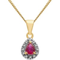 A B Davis 9ct Gold Precious Stone And Diamond Teardrop Pendant Necklace