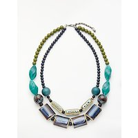 shop for One Button Double Row Ceramic Beaded Necklace, Blue at Shopo