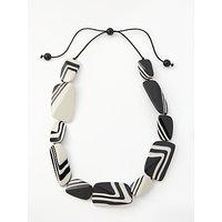 shop for One Button Polished Asymmetric Stripe Pebble Necklace, Black/White at Shopo