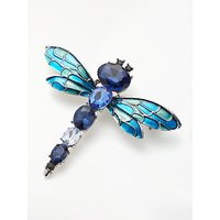 shop for One Button Faceted Glass Dragonfly Brooch, Blue at Shopo