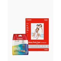Canon CLI-526 Colour Inkjet Cartridge Multipack with Canon GP-501 Glossy Photo Paper, 10 x 15cm, 10 Sheets