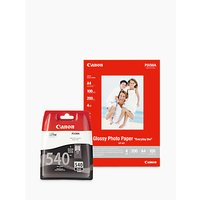 Canon PG-540 Black Ink Cartridge with Canon GP-501 Glossy Photo Paper, 10 x 15cm, 10 Sheets