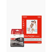 Canon PG-540XL Black Ink Cartridge with Canon GP-501 Glossy Photo Paper, 10 x 15cm, 10 Sheets